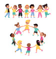 kids holding hands happy multicultural cute vector image vector image