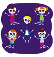 little skulls jumping vector image vector image