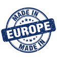 made in europe blue grunge round stamp vector image vector image