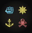 marine collection of pirate and nautical icons in vector image vector image