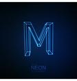 Neon 3D letter M vector image vector image