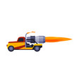 orange racing truck with flame fast heavy sport vector image vector image