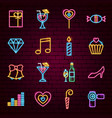 party neon icons vector image vector image