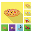 pizza and food icon set of vector image