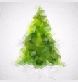 polygonal abstract christmas tree of green triangl vector image