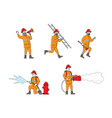 set fire fighters male characters in uniform vector image
