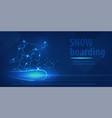 snowboard man figure jumping sport blue neon vector image vector image