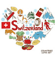 Symbols of Switzerland in heart shape concept vector image