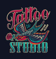 tattoo studio vintage colorful emblem vector image vector image