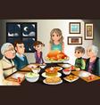 thanksgiving family dinner vector image vector image