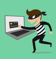 Thief Hacker steal your data credit card and money vector image vector image