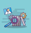 trash can search analysis settings photo digital vector image vector image
