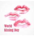 Watercolor lips World Kissing Day vector image vector image