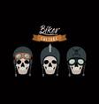 biker culture poster with skulls motorcyclists vector image