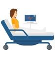 Patient lying in bed with heart monitor vector image