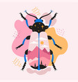 abstract print design with beetle and mountains vector image vector image