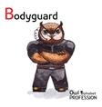 Alphabet professions Owl Letter B - Bodyguard vector image