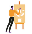 artist or painter painting indoor plant on easel vector image vector image