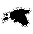 black silhouette of the country estonia with the vector image