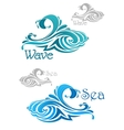 Blue and teal ocean waves icons vector image vector image