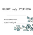 botanical eucalipthus wedding rsvp card template vector image vector image