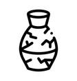 broken clay vase icon outline vector image vector image