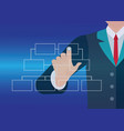 businessman hand touching button organization vector image vector image