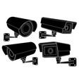 cctv security camera set black outline vector image vector image