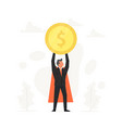 celebrating businessman holding coin over his head vector image