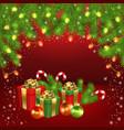 christmas gift box ball candy garland fir-tree vector image