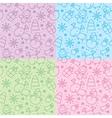 christmas hand drawn seamless patterns vector image vector image