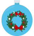 christmas wreath with red bow holiday winter vector image