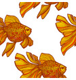 colored goldfish pattern in hand-drawn style vector image