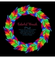 colorful wreath rainbow feathers vector image