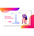 couple lover travel take photo sight landing page vector image vector image