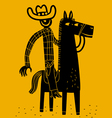 cowboy and horse vector image vector image