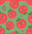 cute seamless pattern with happy smiling tomato vector image vector image