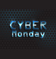 cyber monday background with metallic text on vector image