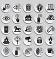 cyber security and computer set plates background vector image