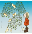 Early spring and a girl in felt brown boots vector image vector image