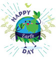 earth day planet surrounded by greenery and vector image vector image