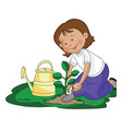 girl planting a small plant vector image