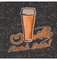 glass of beer on grunge background retro vector image