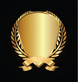 gold and black shield with gold laurels 15 vector image vector image