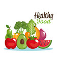 healthy food set icons vector image vector image