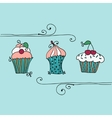 isolated set cupcake vector image vector image