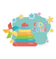 kids zone rubber pyramid and pinwheel toys vector image vector image