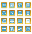 learning foreign languages icons azure vector image vector image