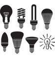 Led Lightbulb Icon Set vector image vector image