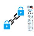 lock blockchain icon with bonus pictograms vector image vector image